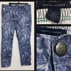 Tommy Hilfiger Blue Floral Modern Skinny Jeans 14